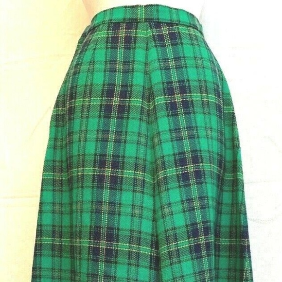 Vintage Dresses & Skirts - La Opera Wool Plaid Skirt Sz Med  Large Maxi  Gree